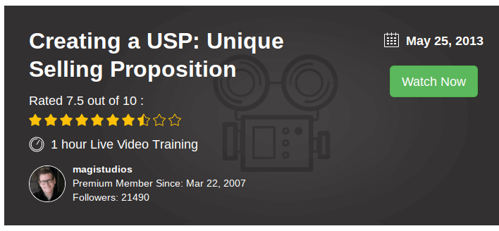Creating a USP: Unique Selling Proposition video training for Wealthy Affiliate members.