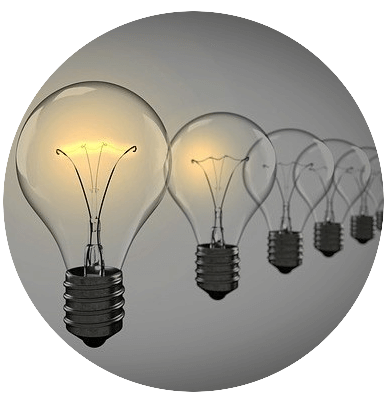 Best Internet small business ideas symbolized by lightbulbs.