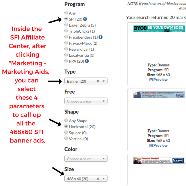 How To Find SFI Banner Ads To Post On A Free Banner Advertising Exchange